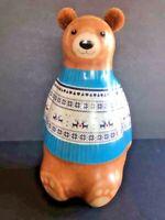 Teddy Bear with Felt Puff Ears Metal Container Tin Box