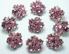 10 Sparkling Pink Crystal Rhinestone Silver Tone Buttons - Blouse N019