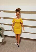 Curvy Plain yellow bodycon dress For Your Curvy Barbie Doll Au Made