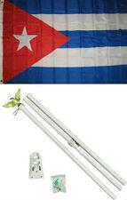 3x5 Cuba Cuban Flag White Pole Kit Set 3'x5'