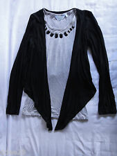 Tilli Girls Grey Jewelled Top With Attached Black Tie Up Jacket Size 14