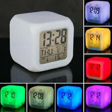7 LED Change Color Growing Digital LCD Alarm Clock Thermometer Date Time Night