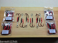6 x 6/0 Red Octopus Double Assist Hooks.Hand Made in the UK.
