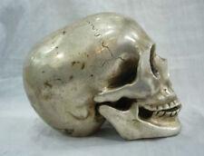 Merveilleux tibet silver big crâne tête de mort netsuke sculpture