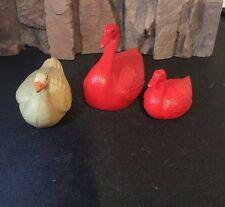 Red SWAN Figure GOOSE Vintage Mini Celluloid Plastic Bird Figurine Carnival Toy