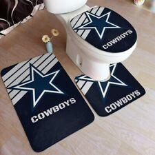 Dallas Cowboys Bathroom Rug 4PC Shower Curtain Bath Mat Contour Toilet Lid Cover