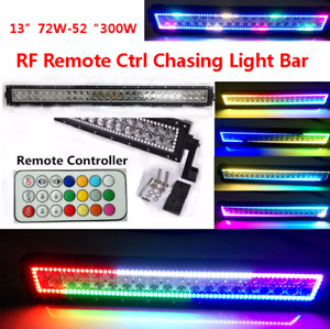 "12""-52"" INCH Combo RGB Halo Chasing Rock Strobe Flash 4D LED Light Bar RF Remote"