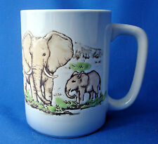 coffee cup mug porcelain relief Elephants Zebras on the savannah
