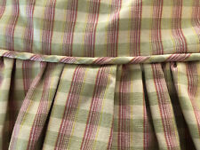 AMAZING CUSTOM MADE COWTAN&TOUT PLAID BEDSKIRT~KING~ROSE,GREEN,IVORY