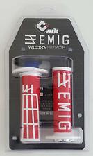 ODI EMIG V2 LOCK ON 2 STROKE 118mm Motocross GRIPS Fits Most: 125cc+ RED & WHITE