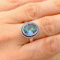 Mystic Topaz Quartz 925 Silver Ring Indian Jewellery Real Little Gems