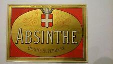 Ancienne ETIQUETTE ABSINTHE Chromolithographiée Suisse Couvet Imprimerie PICHOT