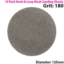 10x 180 Grit Silicon Carbide Mesh 125mm Round Sanding Discs –Hook & Loop Backing