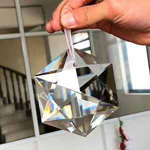 100mm Hexagram Large Crystal Chandelier Glass Prisms Pendant Hanging Decoration