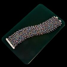Antique Vintage Deco Mid Century Sterling Silver Byzantine Bali Pearl Bracelet