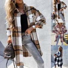 UK Women Check Fleece Casual Jacket Shacket Long Oversize Tartan Tops Shirt Coat