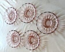 Set Of  5 Vintage color  Glass Footed Dish Bowls +salad bowl