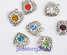 10pcs Mixed color Tibetan Silver Crystal Rhinestone Heart Charm Pendants 11x10mm