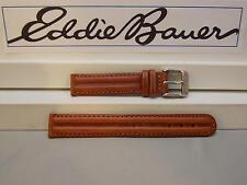 Eddie Bauer 14mm Wide Ladies Leather Brn Padded/Stitched WatchBand W/Pins
