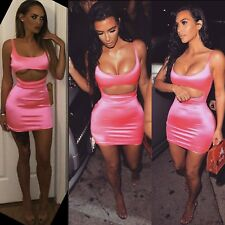 Women Barbie Pink Mini Party Dress Satin Kim K Cut Out Bodycon Clubbing Cocktail