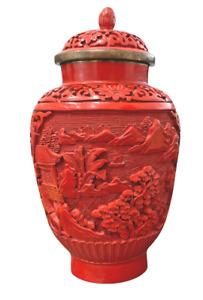 Fine Chinese Cinnabar Red Lacquer Carved Lidded Urn Vase Archaic Art Lappets Art