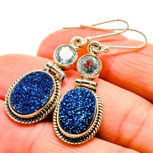 """Titanium Druzy, Blue Topaz 925 Sterling Silver Earrings 1 3/4"""" Jewelry E409861F"""