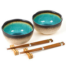 Turquoise Crackleglaze Japanese Bowl Set