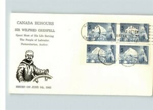 CANADA Honors SIR WILFRED GRENFELL, Block of 4, 1965 First Day of Issue
