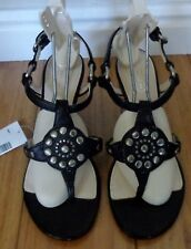 a4e4b7c436980 new womens Coach Harper sandals sz 6.5 black leather strappy wedge heel  studded