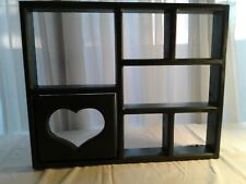 Vintage Wood Knick Knack Hanging Display Wall Green Shelf/ Heart Cut Out