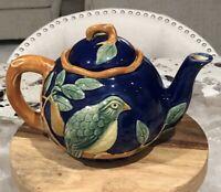 Classic Majolica Partridge In a Pear Tree Tea Pot dtd 1994 by Henriksen Imports