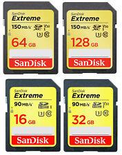 SanDisk 32GB 64GB 16GB 128GB 256G Extreme SD SDXC Class 10 Memory Card U3 150MBs