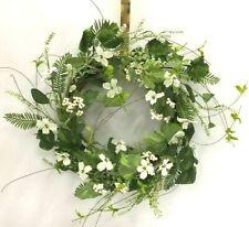 "Dogwood Flower Mix Foliage Twig Wreath~Green,White~PVC/Silk/Artificial~20"""