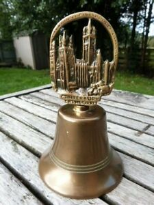 LOVELY VINTAGE BRASS HAND BELL CANTERBURY CATHEDRAL