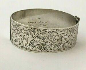 Vintage Sterling Silver Acanthus Bracelet Bangle 1938