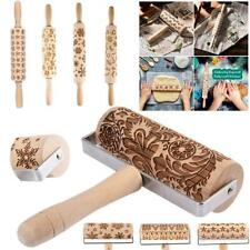 Wooden Rolling pin. Embossing engraved dough roller for cookies. Flower pattern