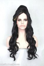 Amy Winehouse Long Black Beehive Wig + FREE Tattoos Set of 9 Guidette Costume @@