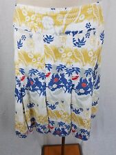 Oilily Bird Print Cotton Pleated Midi Skirt Womens 40 Lined Summer Multi-color