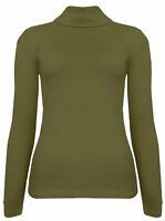 New Women's Cotton Ribbed Polo Turtle High Roll Neck Long Sleeve Knit Jumper Top