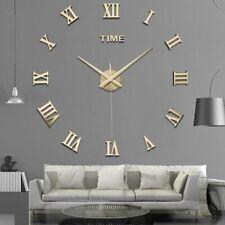 New Modern DIY 3D Large Wall Clock Mirror Surface Sticker Art Design Home Decor