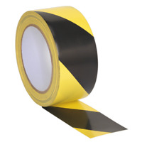 HWTBY Sealey Hazard Warning Tape 50mm x 33mtr Black/Yellow [Tapes] [Consumables]