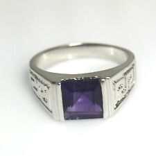 Natural Amethyst 925 Sterling Silver Ring-Square Gemstone-Designer Men's Ring