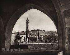 1925 Vintage JERUSALEM Temple Landscape Architecture ISRAEL Palestine Photo Art