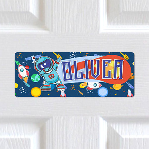 Personalised Any Name METAL Spaceman Rocket Bedroom Door Sign Plaque. Boys Kids