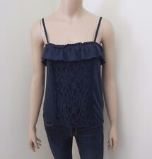 Abercrombie Womens Lace Tank Top Size Small Cami Navy Blue Shirt