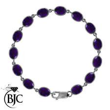 Pulseras de joyería con gemas de plata de ley amatista