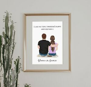 A4 Love Couple Boyfriend Wall Print/Sign Unique Gift Personalised Valentines Day