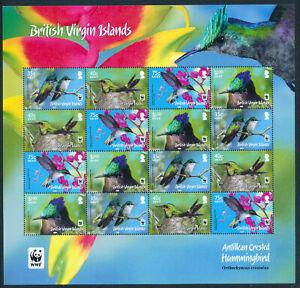 BR VIRGIN ISLANDS 2014 ANTILLEAN CRESTED HUMMINGBIRD SG1278/81 WWF SHEETLET MNH