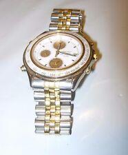 MENS SEIKO QUARTZ Chronograph SQ100 Watch Stainless Gold 7T32-6B50 ALARM DATE