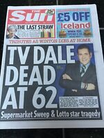 Dale Winton Obituary Front Page Supermarket Sweep Newspaper The Sun 19/04/2018